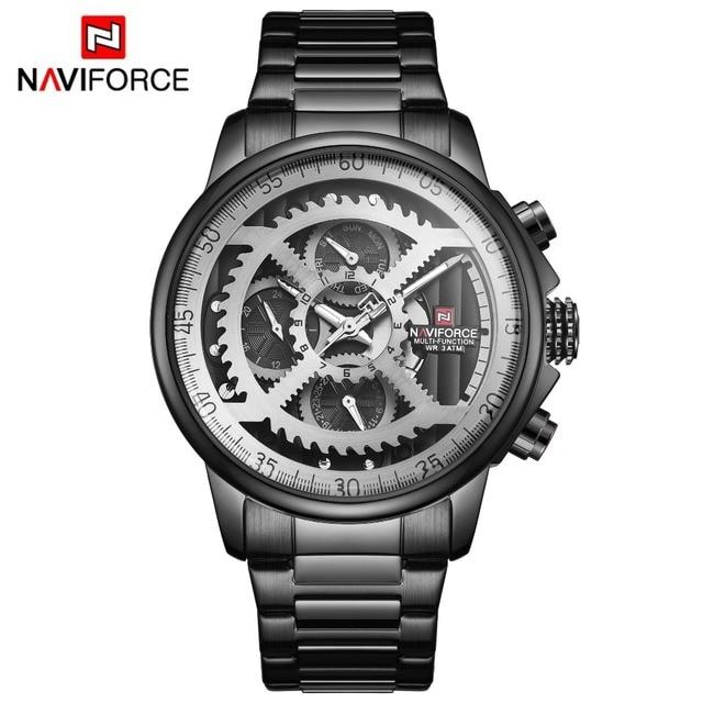 NAVIFORCE Mens ספורט שעונים גברים למעלה מותג יוקרה מלא פלדה קוורץ תאריך אוטומטי שעון זכר צבא צבאי עמיד למים שעון