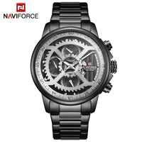 Relojes deportivos para hombre de NAVIFORCE, reloj de fecha automático de cuarzo de acero completo de marca superior para hombre, reloj militar y militar a prueba de agua