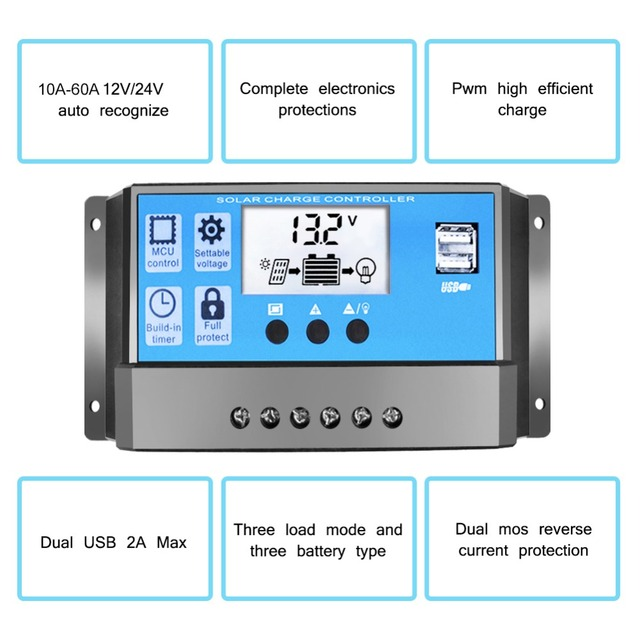 30A 12V 24V PWM Controllers LCD Dual USB 5V 3