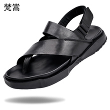 Summer British trend sandals male open-toed Roman shoes leisure breathability anti-skid leather thick-soled cowhide