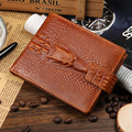 Hot Sale Fashion Men Wallets Quality Genuine leather Alligator Grain Hasp Short Style Black Brown Coin Card Holder Purse Wallet
