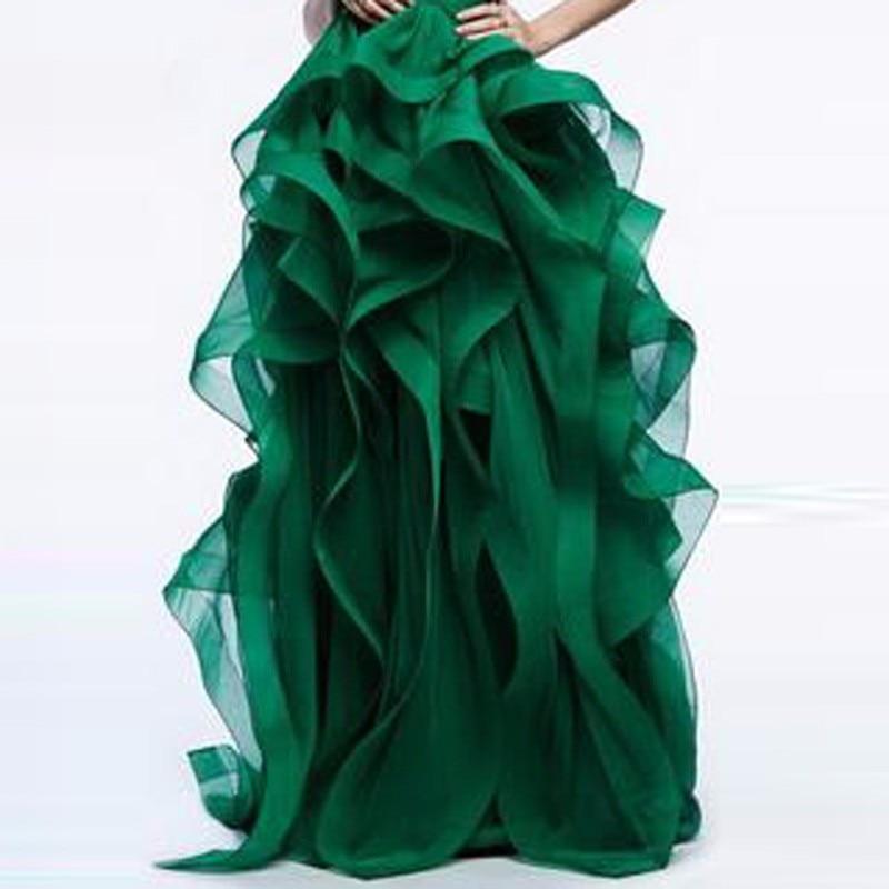 Элегантный Длинные бальные платья юбка для невесты великолепные оборки Многоуровневая Толстая органза леди юбки для официальная Вечеринк...
