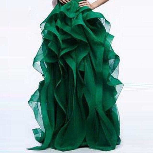 85ac0252b2 Elegantes vestidos de baile Falda larga para novia hermosas faldas gruesas  con volantes de Organza para