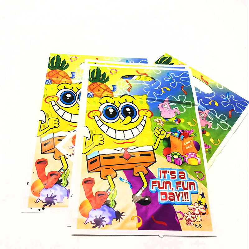 10pcs/lot SpongeBob Theme Plastic Gift Boxes SpongeBob Theme Plastic Candy Bags SpongeBob Gift Bags Baby Shower Party Supplies