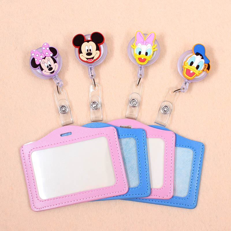 Colorful Mickey Silicone Badge Scroll Nurse &Doctor Office Reel Character Scalable Student Exhibition Business Card Badge Holder