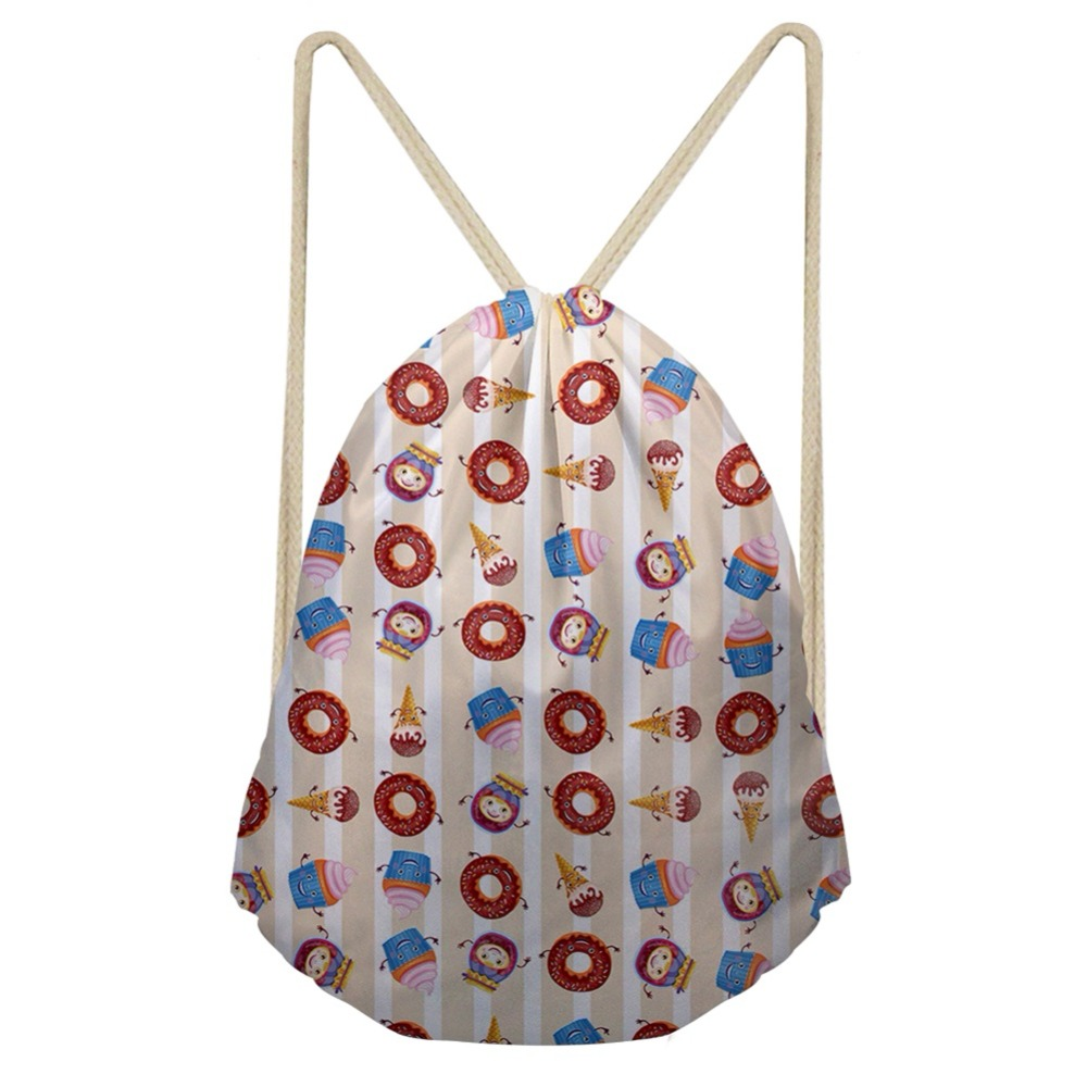 THIKIN Cartoon Hamburger Donut Backpack Beach For Teenagers Polyester Bag Carry On Bag Fashion Polyester Drawstring Bag Custom