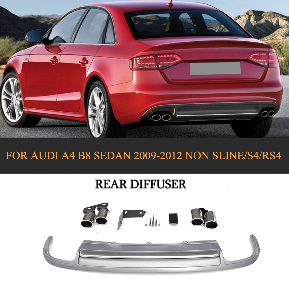 PP Car Rear Diffuser Lip With Exhaust Muffler For Audi A4 B8 Sedan 4 Door Non Sline S4 RS4 2009-2012