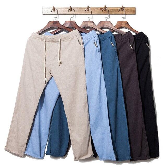 Мужские брюки 2016 весной и летом белье брюки прямые брюки случайные белье брюки с эластичной резинкой 6 цветов