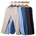 Pantalones de los hombres 2016 de primavera y verano pantalones de lino pantalones rectos casuales pantalones de lino con cuerda elástica 6 colores