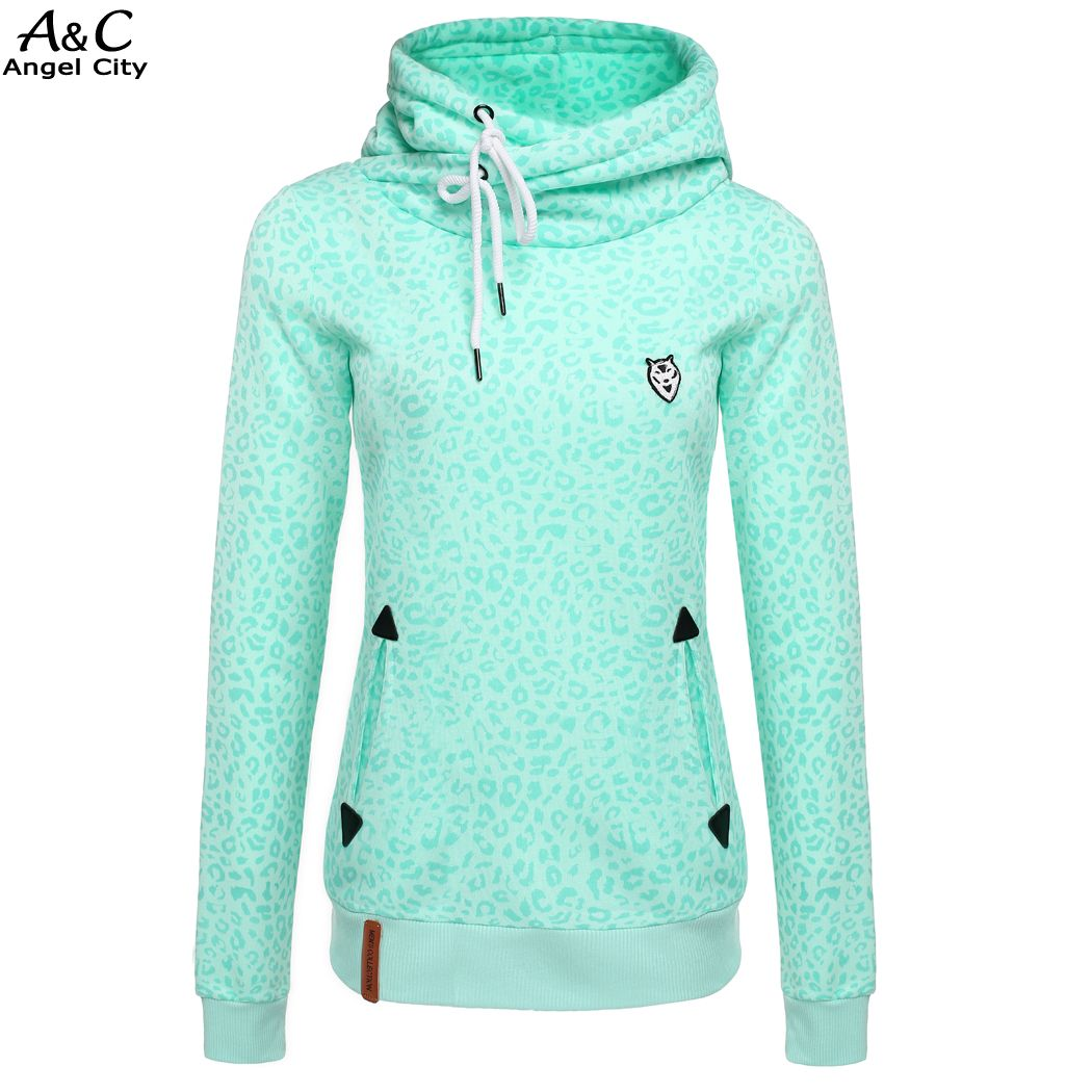 Casual Green Sweatshirt Women Slim Leopard Print Pullover Hoodies ...
