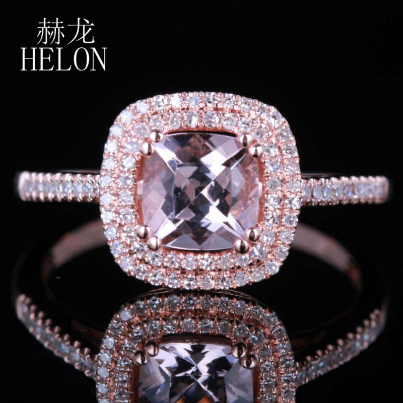 HELON Solid 14K Rose Gold 6mm Cushion 0.85CT Natural Morganite Pave 0.3ct Diamond Engagement Wedding Ring Women Fine Jewelry