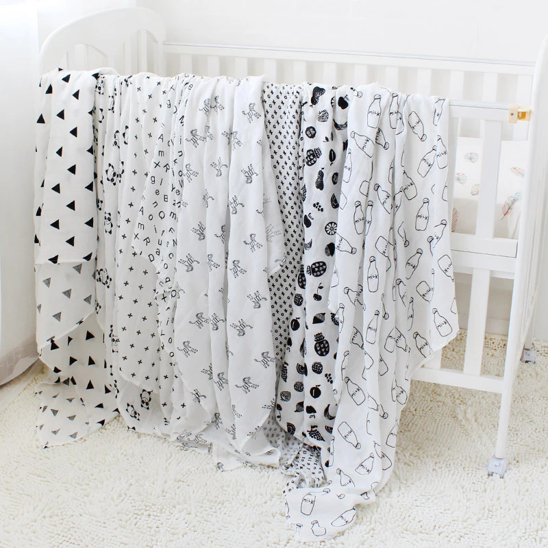 Muslin Cotton Baby Swaddles For Newborn Baby Blankets Black & White Gauze Bath Towel Kids Bedding Quilt Infant Swaddle Towel young time cotton travel towel white