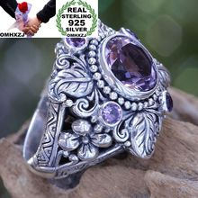OMHXZJ Wholesale European Fashion Woman Man Party Wedding Gift Silver Purple Leaves Flower Amethyst AAA Zircon Taiyin Ring RR320
