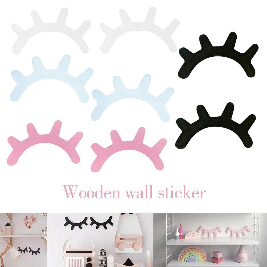 Style nordique mignon en bois 3D cils autocollant mural oeil fermé mur Decar décoration maison maison salon décoration