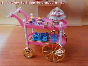 Image 2 - Free Shipping girl play set Pink cake car tea time 1/6 doll accessories doll furniture for barbie doll