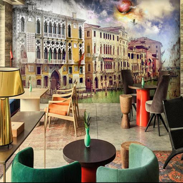 Custom HD Photo Wallpaper Abstract 3D Wall Murals Gothic Graffiti House Architecture Paper For Coffee