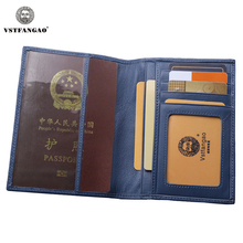 New Blue Passport Cover Genuine Leather Passport Credit Card Holder Protector Cover Case