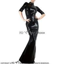 Черное сексуальное латексное платье с коротким рукавом и высоким