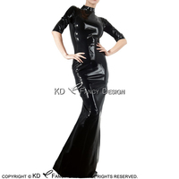 Black Half Sleeves Sexy Latex Gown With High Collar Zipper Back Rubber Dress Bodycon Playsuit LYQ 0112