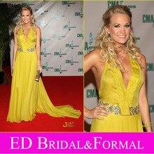 Carrie Underwood Kleid CMA Awards 2008 Roter Teppich V-ausschnitt Gelb Chiffon Halter Promi Abendkleid