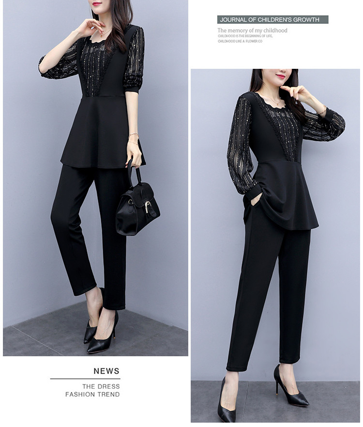 Plus Size Autumn Black Two Piece Sets Outfits Women Long Fake Two Pieces Tops And Pants Suit Elegant Korean Ol Style 2 Piece Set 35