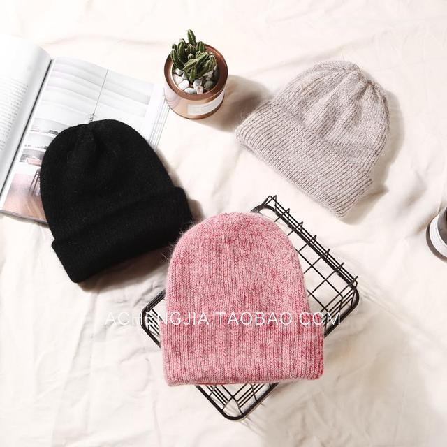 soft rabbit double knitting thick bonnet beanie caps solid warm winter hats for women's cap skullies beanies female hat S9#