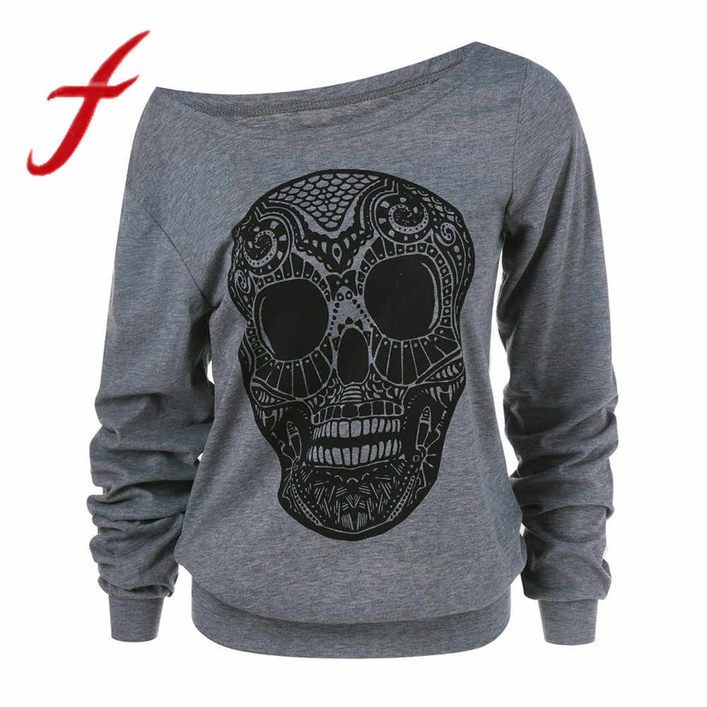 bb0dcce3203 Detail Feedback Questions about Feitong Plus Size Women Sexy Off Shoulder  Sweatshirt Autumn Halloween Skull Print Skew Collar Pullovers sudadera  mujer 2019 ...