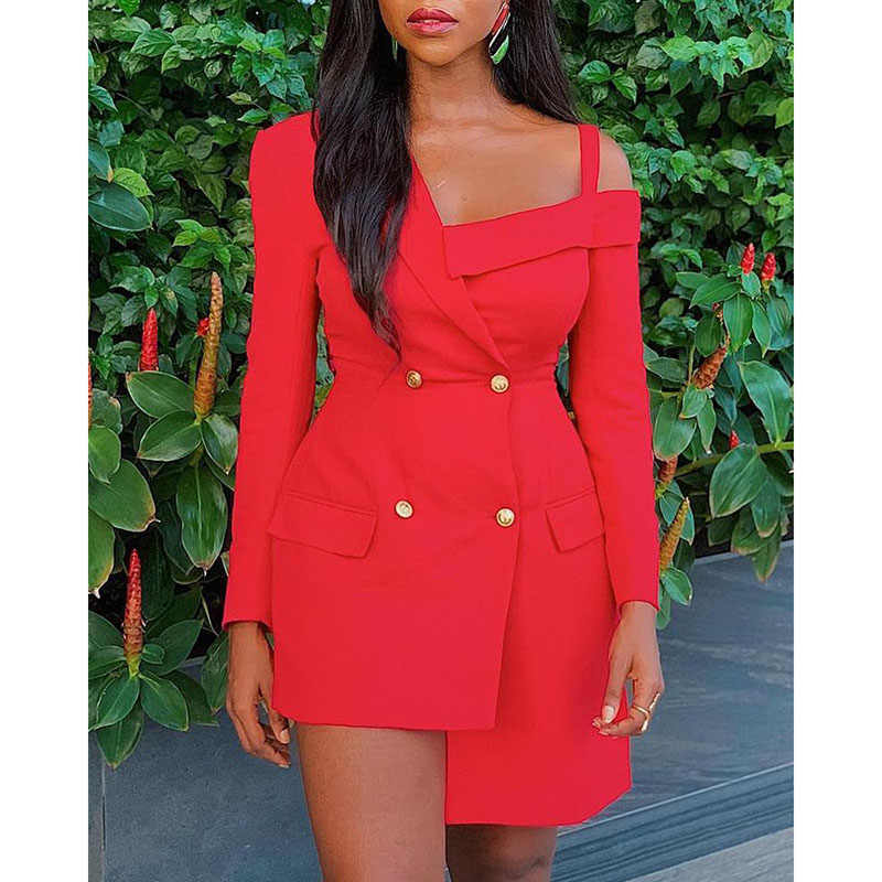 Sexy Women Summer Red Irregular Long Sleeve Slim Fit Buttons Off Shoulder Dress Ladies Casual Business Fashion Dress SJ3374E