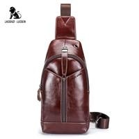 LAOSHIZI LUOSEN Genuine Leather Men Bag Male Chest Bag Travel Shoulder Man Crossbody Bags Messenger Bags