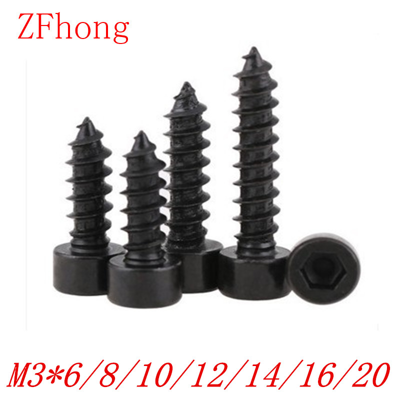 100pcs M3*6/8/10/12/14/16/18/20 steel with black hex socket cap head self tapping screw 50pcs iso7380 m3 5 6 8 10 12 14 16 18 20 25 3mm stainless steel hexagon socket button head screw