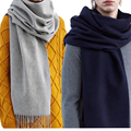 Brand Winter Fashion Solid Scarf Wool Blend Shawls Unisex Scarves With Tassels Warm Handkerchief Soft  Luxury Pashmina A007
