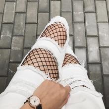 Бесплатная доставка Горячей продажи все матч моды белый отверстие женские джинсы женские случайные джинсы