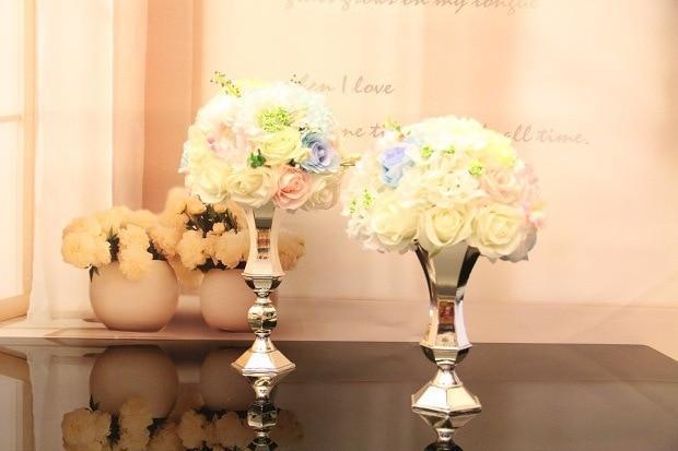 Vazo me lule argjendi, mbajtëse qirinjsh, pjesë kryesore e dasmave - Furnizimet e partisë - Foto 1