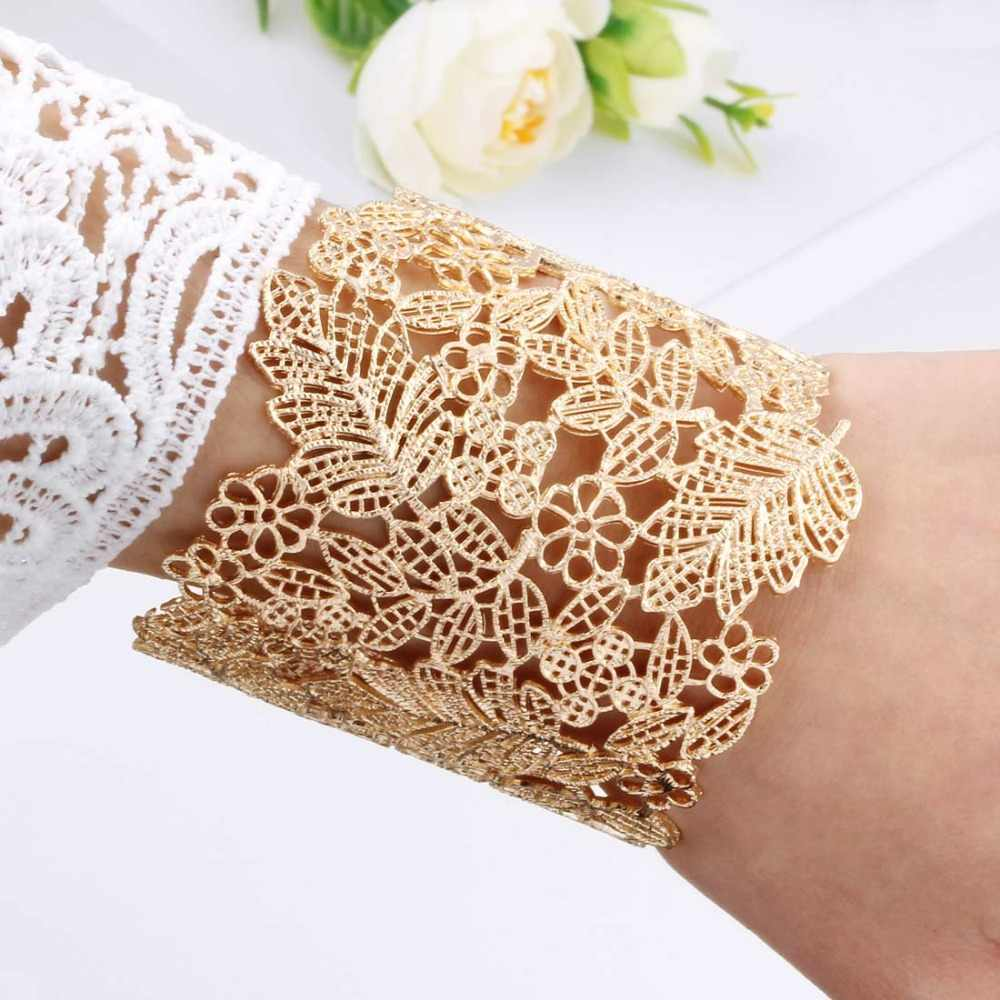 Gold Cuff Bangles For Women Brand Big Hollow Flower Fashion Bangles Indian Girls Bracelets & Bangles Female Cute Ladies Jewelry