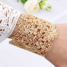 Gold Cuff Bangles For Women Brand Big Hollow Flower Fashion Bangles Indian Girls Bracelets & Bangles Female Cute Ladies Jewelry(China)