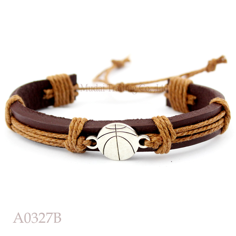 (10PCS/lot) Basketball Adjustable Leather Cuff Bracelet for Men & Women Friendship Bangle Punk Casual Wristband Jewelry