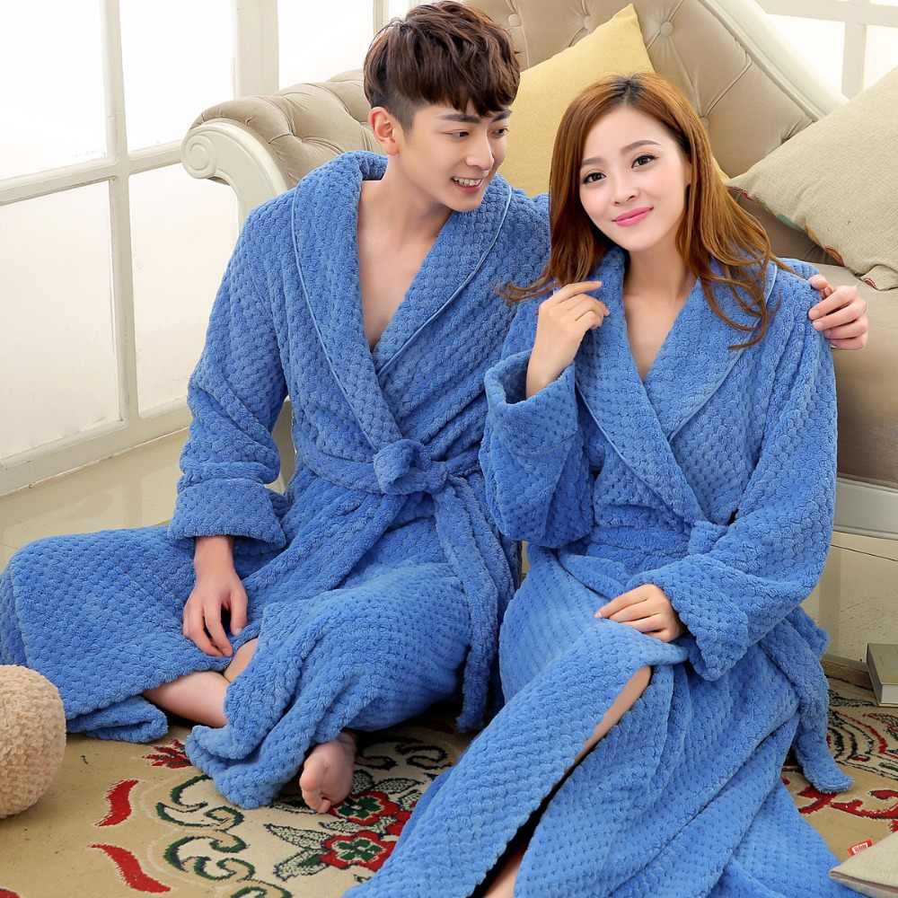cc6ec957a0 Women Men Silk Flannel Long Thick Waffle Bath Robe Kimono Bathrobe Bride  Wedding Bridesmaid Robes Dressing