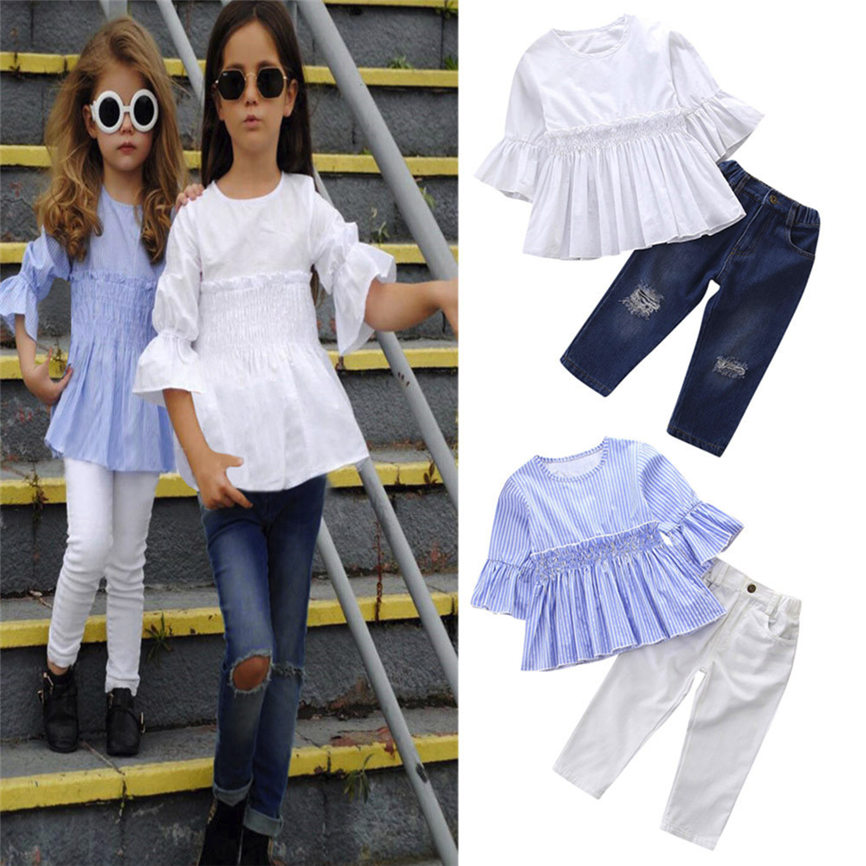 2pcs Kids Baby Girls Casual Dress Long Sleeve Tops+Pants Sport Fashion Clothes