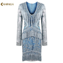 High quality 2017 new women summer runway fashion blue solid print full sleeve V-neck sheath mini lace tassels sexy dress D0914