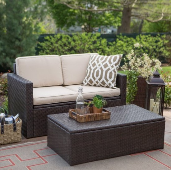 hot sale all weather patio furniture cube table rattan small couches
