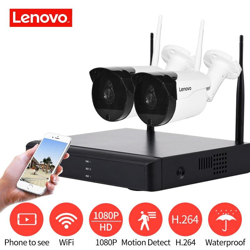 LENOVO 2CH Matriz HD Casa Wi-fi Sistema de Câmera de Segurança Sem Fio Kit DVR 1080 P CCTV WI-FI Ao Ar Livre Full HD NVR kit de vigilância Avaliado