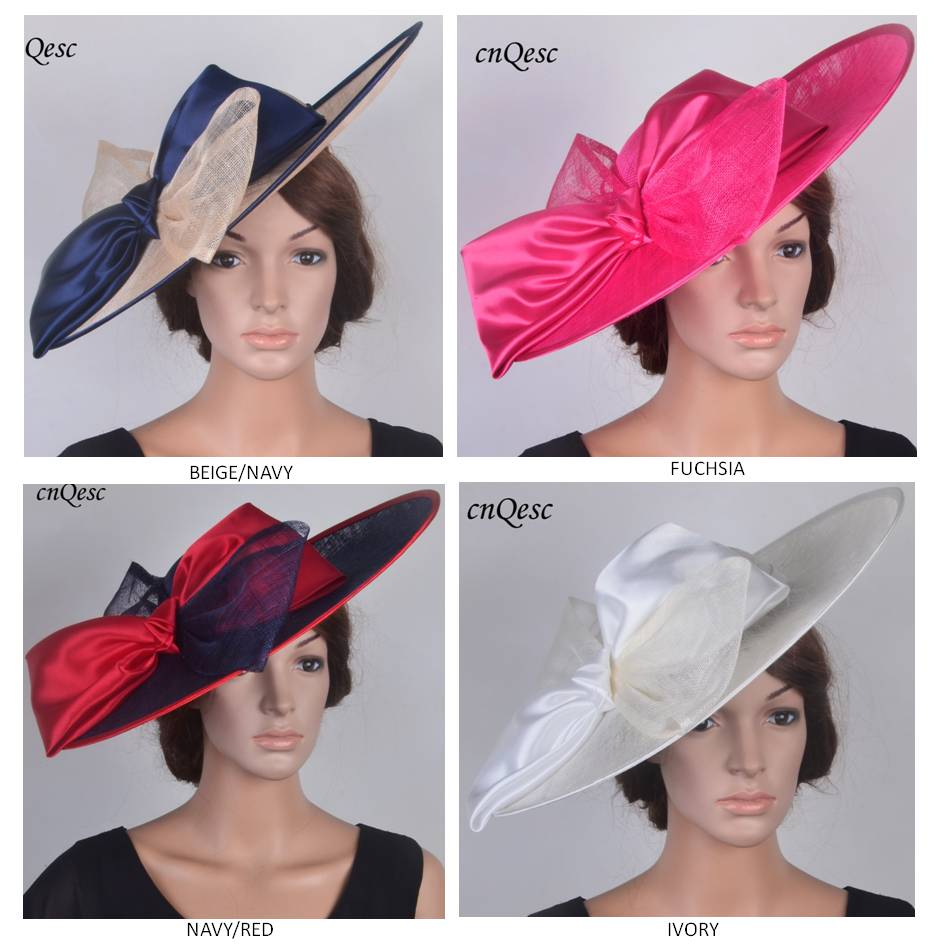 2019 NEW DESIGN X Large saucer base hatinator Sinamay fascinator wedding hat with large bow for