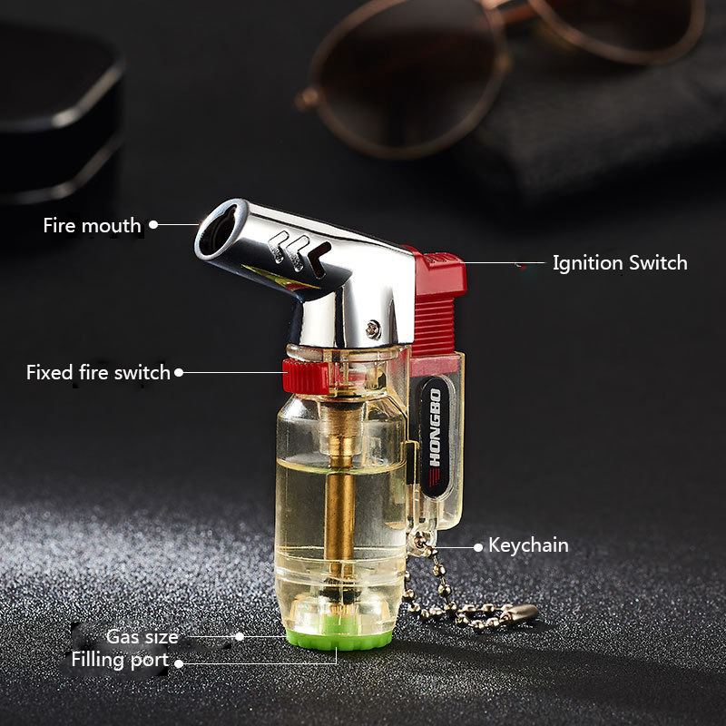 Visible Gas Torch Turbo Lighter Cigar Cigarettes Lighters gas Lightersmoking accessories Flame Electronic Lighter Butane in Matches from Home Garden