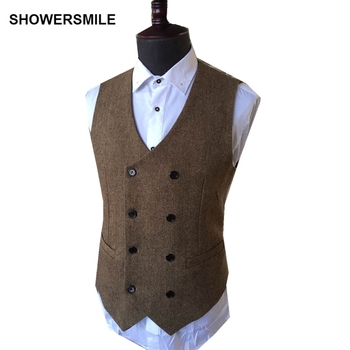 SHOWERSMILE Mens Double Breasted Waistcoat Autumn Winter Wool Tweeds Classic Slim Fit Suit Vest British Style Herringbone Jacket showersmile mens double breasted vest suit black dress waistcoat for men slim fit sleeveless jacket male spring autumn gilet