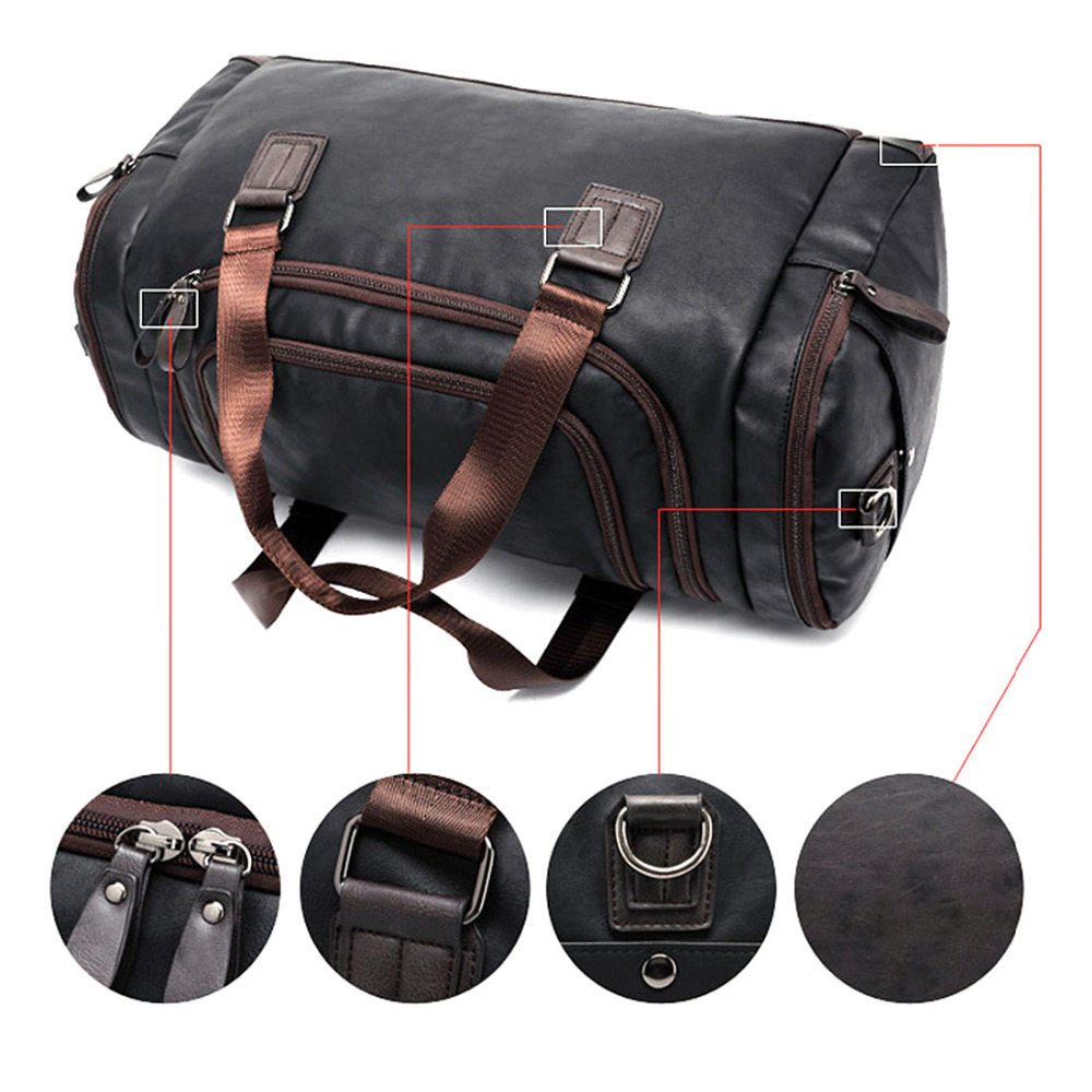 f9ab4fadfcb Large Capacity Men s PU Leather Sports Bag Duffel Tote Handbags for Travel  Gym Fitness Male Bag Women Camping Brown Black