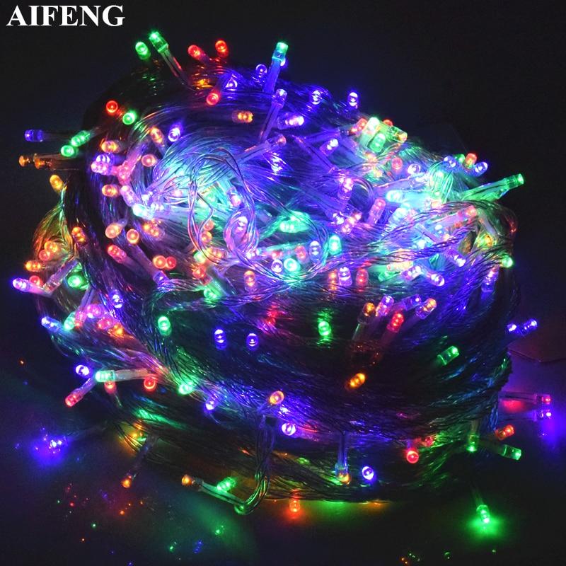AIFENG String Light 5M 10M 20M 30M 50M 100M Christmas <font><b>Tree</b></font> Garland Fairy String Lights Chain <font><b>Xmas</b></font> Wedding Party Holiday Lighting