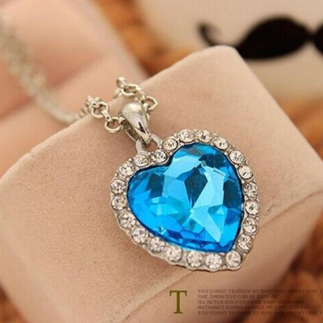Movie titanic heart of ocean pendant necklace blue heart necklace movie titanic heart of ocean pendant necklace blue heart necklace crystal rhinestone luxury necklace women charming aloadofball Choice Image