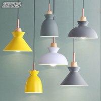 Simple Color Small Single Chandelier Modern Creative Restaurant Study Bedroom Lamp Industrial Aluminum Wood Chandelier
