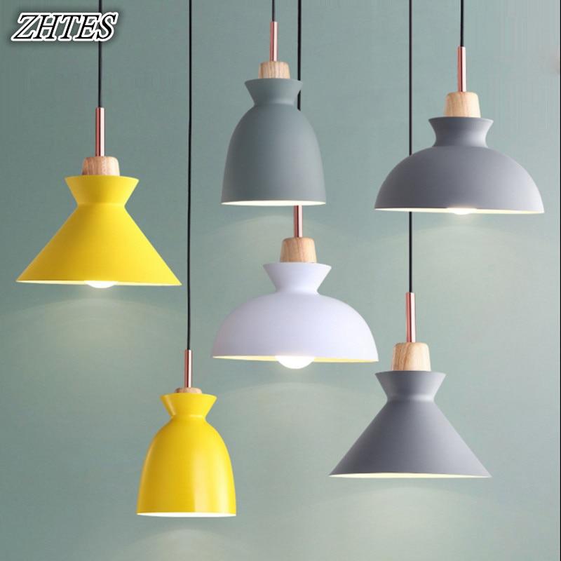 Simple couleur petit lustre Simple moderne créatif Restaurant étude chambre lampe industrielle en aluminium bois lustre