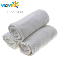 5Pcs 4 Layers Bamboo Microfibre Inserts For Baby Cloth Diaper Cover Reusable Washable Liners For Pocket